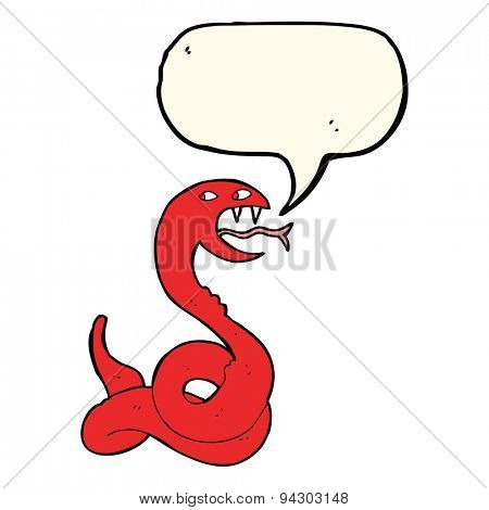 cartoon hissing snake with speech bubble