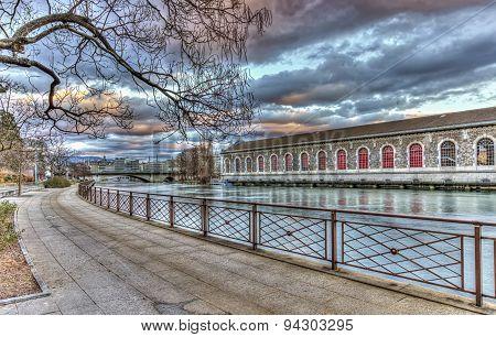 BFM, promenade and Rhone river, Geneva, Switzerland, HDR