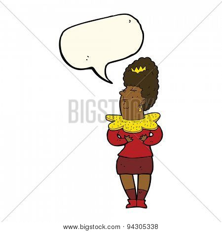cartoon aristocratic woman with speech bubble poster