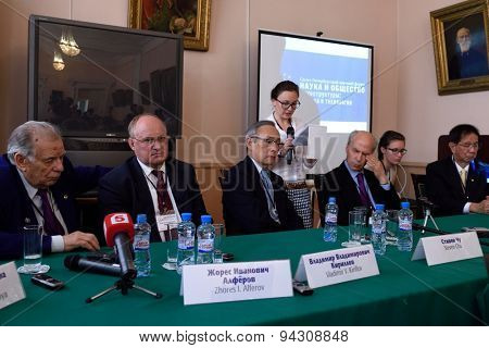 ST. PETERSBURG, RUSSIA - JUNE 22, 2015: Press-conference during the Saint Petersburg scientific forum