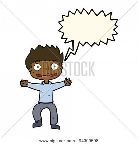 cartoon grinning boy with speech bubble poster