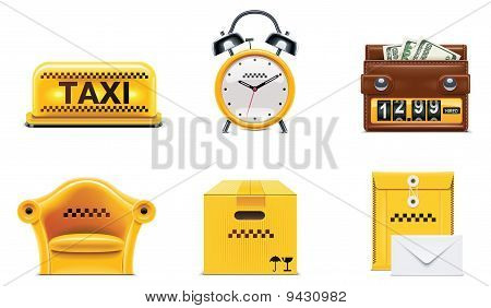 Vector taxi and transportation service icon set.