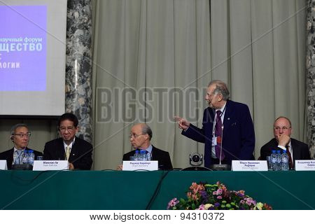 ST. PETERSBURG, RUSSIA - JUNE 22, 2015: Zhores Alferov and other scientists on the St. Petersburg scientific forum
