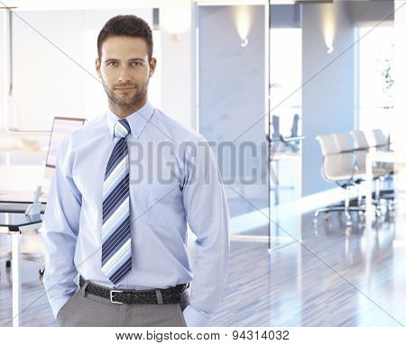Portrait of handsome businessman at office.