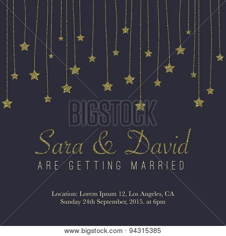 Vintage card, for invitation or announcement with golden glitter