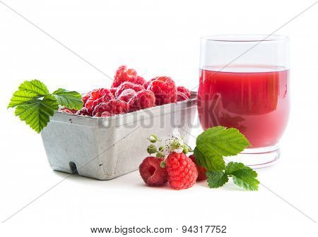 Raspberry in container with a juce isolated on white