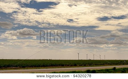 Wind Turbines In Texas Farmland