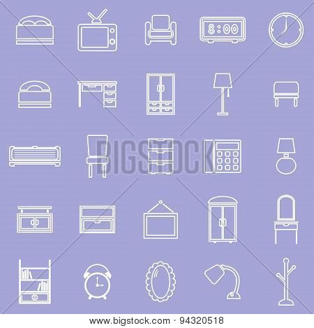 Bedroom Line Icons On Violet Background