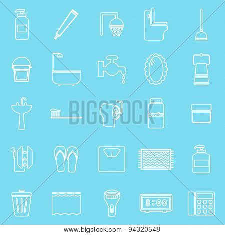 Bathroom Line Icons On Light Blue Background