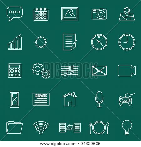 Application Line Icons On Green Background