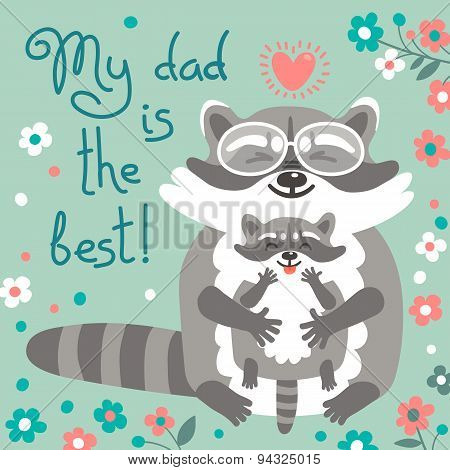 Card with cute raccoons to Fathers Day.