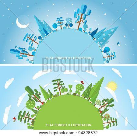 Flat vector forest illustration, winter, spring, summer