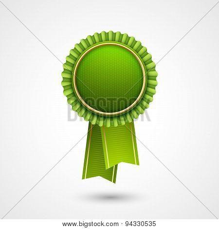 Green vector award badge with  ribbons.  Eco Labels.