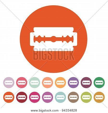 The blade razor icon. Shaver symbol. Flat Vector illustration. Button Set poster