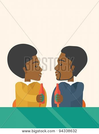 A two black co-workers from office to pub having fun drinking beer just to relax and stress free. A Contemporary style with pastel palette, soft beige tinted background. Vector flat design