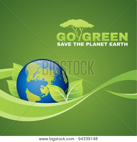 Go green save the planet earth is leaf ,world and ribbon wave