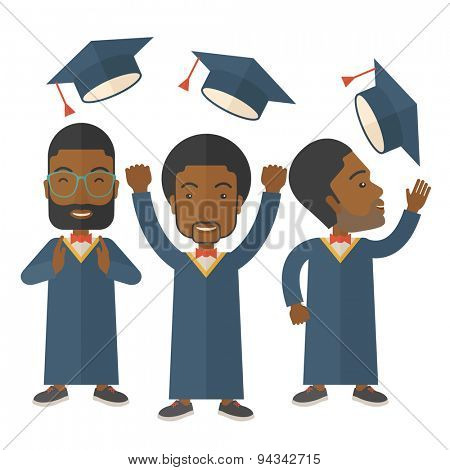 Smiling three men throwing graduation cap in the air. A Contemporary style. Vector flat design illustration isolated white background. Square layout