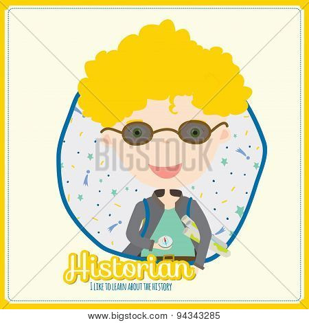 Cute vector alphabet Profession. Illustration smiling boys and girls in a funny and cartoon style design isolated on white background. Historian poster