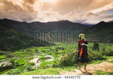 H'mong ethnic minority woman with her son in Mucangchai, Vietnam