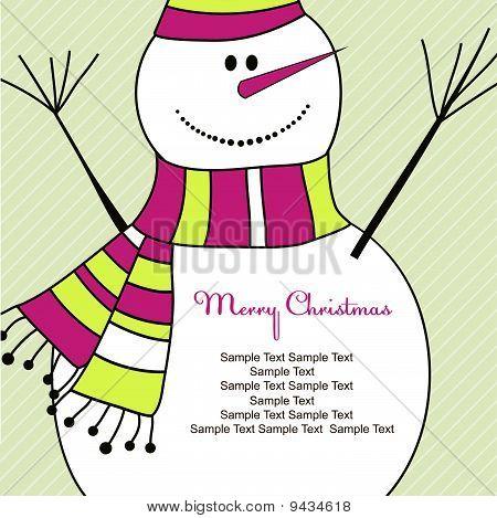 Christmas card with Snowman. Vector illustration