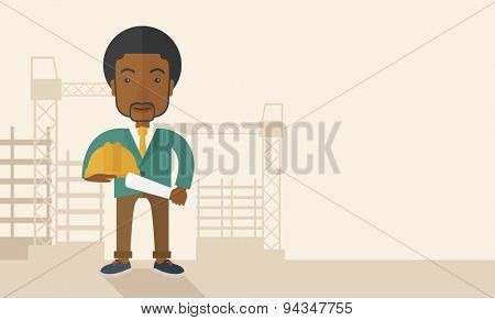 A happy young african construction worker holding hard hat and blueprint plan. A Contemporary style with pastel palette, soft beige tinted background. Vector flat design illustration. Horizontal