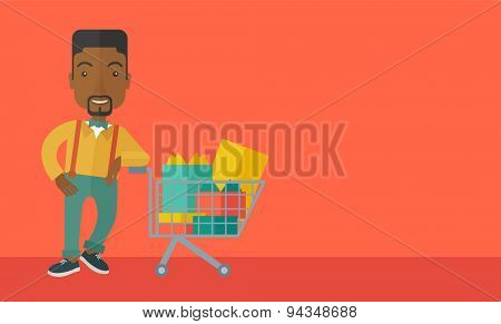 A happy african-american man standing with his shopping cart. . A Contemporary style with pastel palette, orange tinted background. Vector flat design illustration. Horizontal layout with text space
