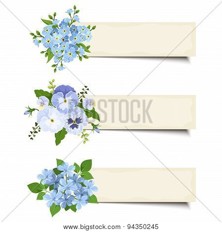 Three vector banners with various blue flowers. Eps-10.