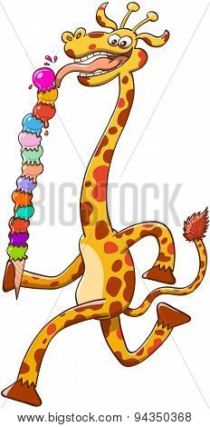Cool long-necked giraffe eating a giant ice cream composed of thirteen flavor balls