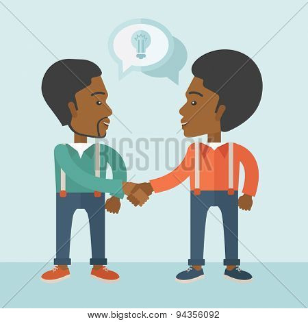 Two Afircan-american guys standing facing each other handshaking for the successful business deal. Business partnership concept. A Contemporary style with pastel palette, soft blue tinted background