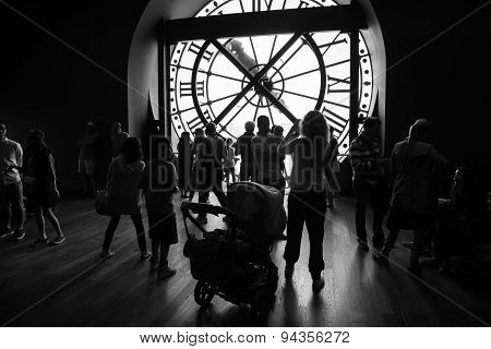 Interior With Ancient Clock In Orsay Museum