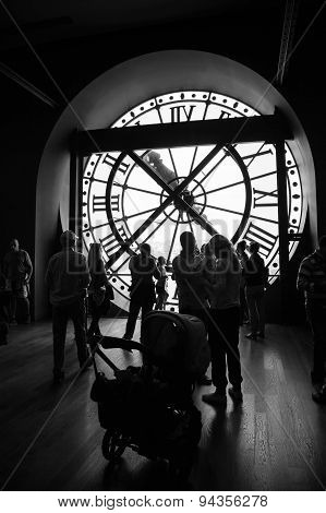 Interior With Famous Clock In Orsay Museum