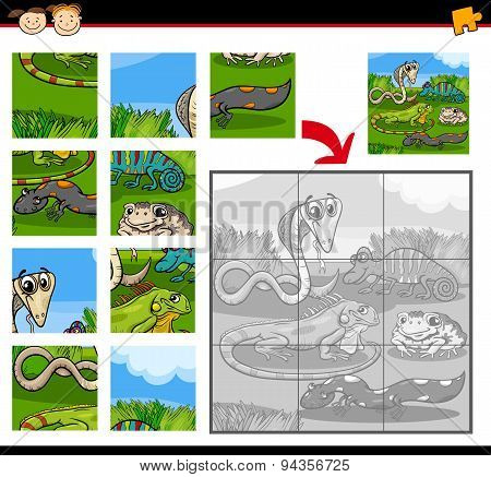 Cartoon Illustration of Education Jigsaw Puzzle Game for Preschool Children with Reptiles and Amphibians Animals Characters Group poster