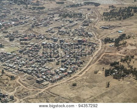 aerial view of low cost urban housing in Africa
