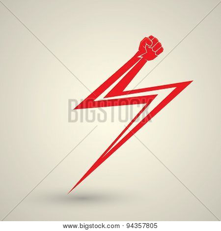 vector fist icon. revolution fist. freedom concept. lightning bolt fist poster