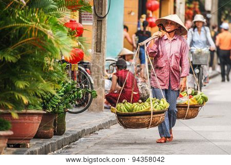 Fruit Vendor In Hoi An, Vietnam