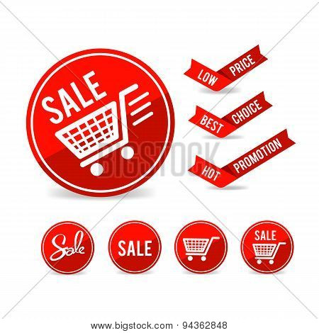Set Of Sale Tag Circle Banner Ribbon Paper - Vector Illustration 001