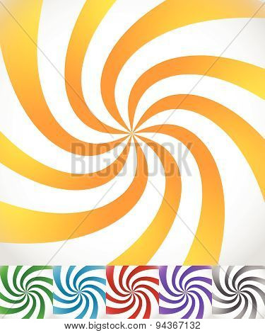 Colorful Background Set With Swirling, Rotating, Twirling Stripes, Lines. Bright Orange, Green, Blue