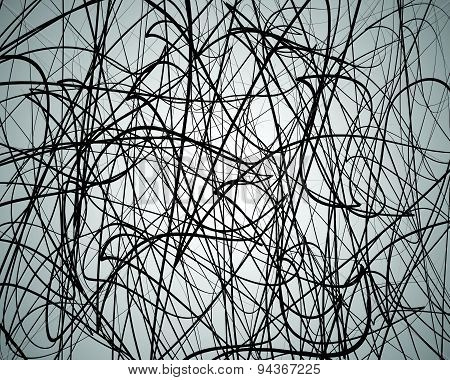 Random Lines, Abstract Wavy Lines. Artistic Black And White Vector Background.