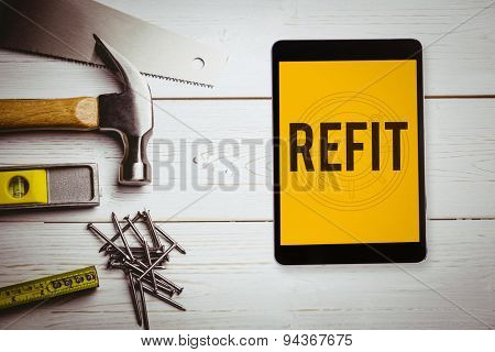 The word refit and tablet pc against blueprint