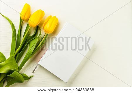 Book And Yellow Tulips
