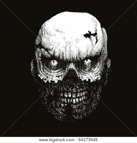 zombie head hand drawn. vector illustration