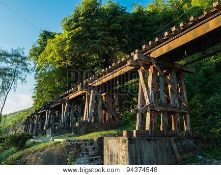 The Burma Railway is known as the Death Railway. It has been built since World War II by asian civilian labours (Romusha) and Allied prisoners of war (POWS). About 90000 Romusha and 12621Allied POWs died during the construction. Now it is the famous place poster