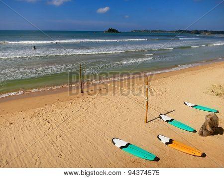 Surfing boards at Weligama beach, Sri-Lanka
