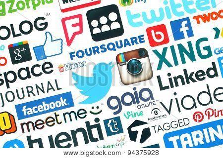 KIEV UKRAINE - MAY 20 2015:Collection of popular social media logos