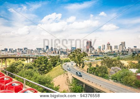 Wide Angle View Of Johannesburg Skyline From The Highways During Sightseeing Tour Around Urban Area