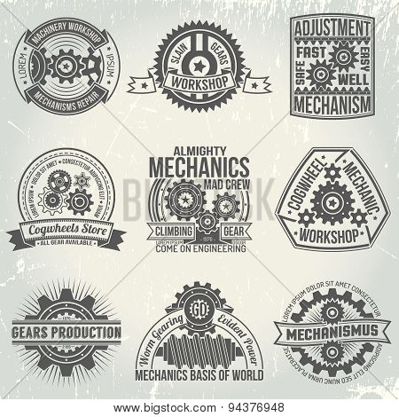 Logo with gears and mechanisms