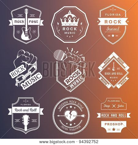 Set Of Vintage Badges Rock Music And Rock And Roll