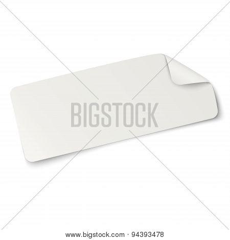 Rectangular Oblong Paper Sticker Note Isolated On White. Light From Upper Left.