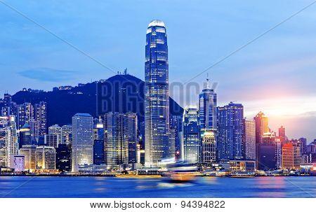 Beautiful HongKong cityscape at sunset, Hong kong city.