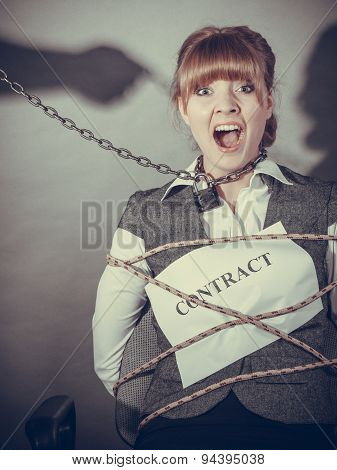 Upset Businesswoman Bound By Contract Terms.